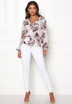 Happy Holly Brea wrap blouse Offwhite / Patterned Bubbleroom.no