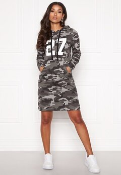 Happy Holly Camila tricot hood Grey melange / Camouflage Bubbleroom.no
