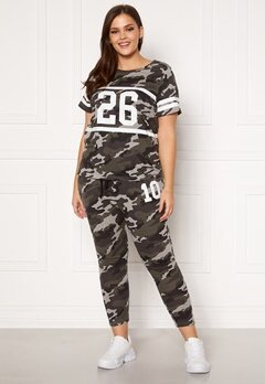 Happy Holly Carolyn tricot pants Grey melange / Camouflage Bubbleroom.no