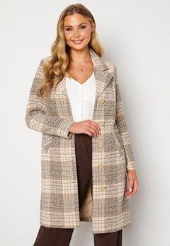 Happy Holly Corinne checked coat Beige / Checked Bubbleroom.no