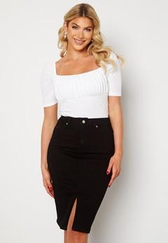 Happy Holly Elina midi denim skirt Black Bubbleroom.no