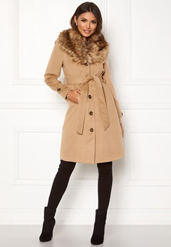 Happy Holly Elisa coat with belt Camel Bubbleroom.no