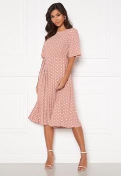 Happy Holly Eloise pleated dress Pink / Dotted Bubbleroom.no