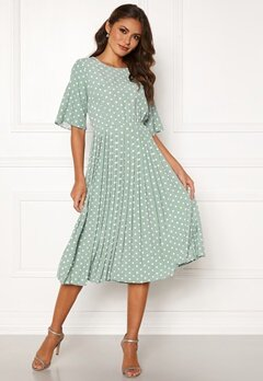Happy Holly Eloise pleated dress Light mint / Dotted Bubbleroom.no