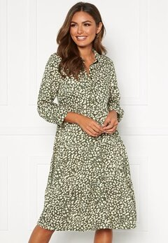 Happy Holly Elsie midi dress Khaki green / Patterned Bubbleroom.no