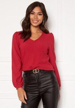 Happy Holly Emilia ls sleeve puff top  Dark red Bubbleroom.no