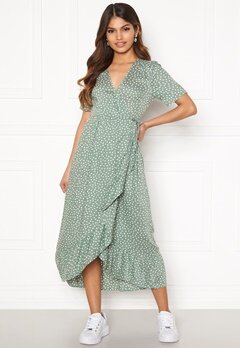 Happy Holly Evie wrap dress Dusty green / Offwhite Bubbleroom.no