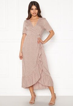 Happy Holly Evie wrap dress Dusty pink / Offwhite Bubbleroom.no