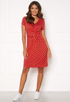 Happy Holly Fiona dress Coral red / Dotted Bubbleroom.no