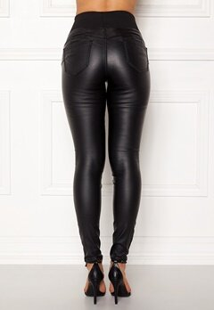 Happy Holly Freja push-up coated treggings Black Bubbleroom.no
