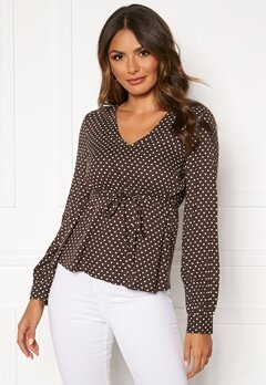 Happy Holly Frida blouse Brown / Dotted Bubbleroom.no