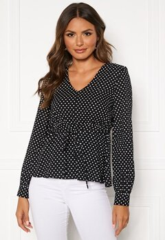 Happy Holly Frida blouse Black / Dotted Bubbleroom.no