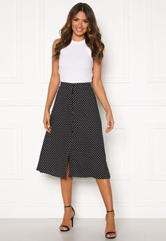 Happy Holly Frida button skirt Black / Dotted Bubbleroom.no