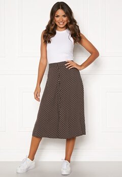 Happy Holly Frida button skirt Brown / Dotted Bubbleroom.no
