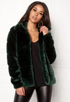 Happy Holly Gia fur jacket Dark green Bubbleroom.no