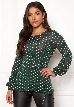 Happy Holly Gianna top Dark green / Dotted Bubbleroom.no