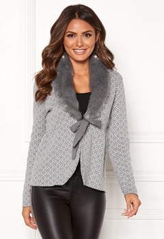 Happy Holly Hannah fur cardigan Grey / Offwhite Bubbleroom.no