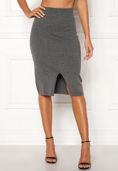 Happy Holly Henrietta knitted skirt Grey melange Bubbleroom.no