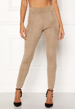 Happy Holly Ida suede look leggings Beige Bubbleroom.no