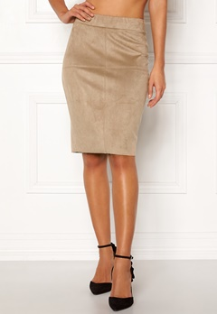 Happy Holly IDA suede look skirt Beige Bubbleroom.no