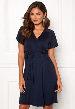 Happy Holly Ivy wrap dress Dark blue Bubbleroom.no