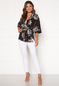 Happy Holly Jelena kimono blouse Black / Patterned Bubbleroom.no