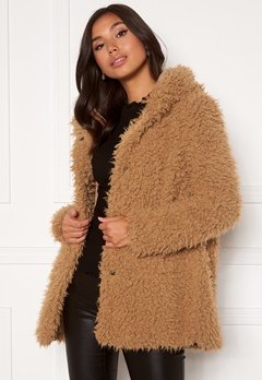 Happy Holly Jenny fur coat Camel Bubbleroom.no