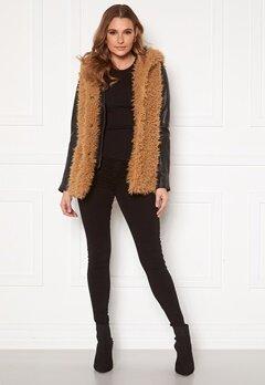 Happy Holly Jenny fur vest Camel Bubbleroom.no