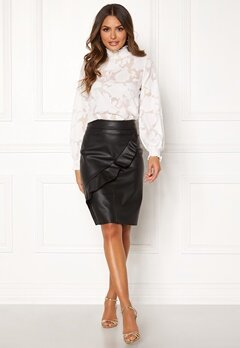 Happy Holly Johanna PU skirt Black Bubbleroom.no