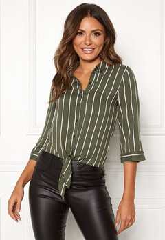 Happy Holly Juliette ss knot shirt Khaki green / Striped Bubbleroom.no