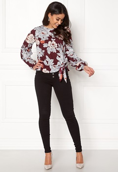 Happy Holly Kacy blouse Wine-red / Patterned Bubbleroom.no