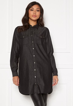 Happy Holly Kathleen long denim shirt Black denim Bubbleroom.no