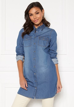 Happy Holly Kathleen long denim shirt Medium denim Bubbleroom.no