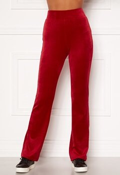 Happy Holly Kaylee velour flared leggings Red Bubbleroom.no