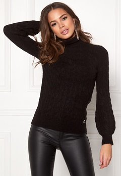 Happy Holly Kira cable knitted sweater Black Bubbleroom.no