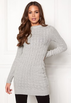Happy Holly Kira cable sweater dress Grey melange Bubbleroom.no