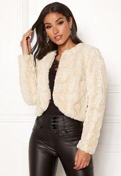 Happy Holly Kirsten fur jacket Light beige Bubbleroom.no
