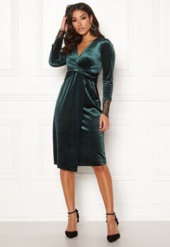 Happy Holly Leonora velvet dress Dark green Bubbleroom.no