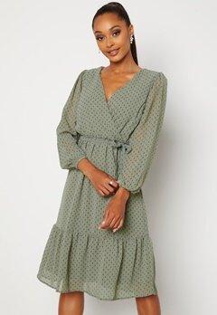 Happy Holly Linn midi Long Sleeve Dress Dusty green Bubbleroom.no