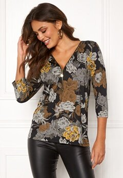 Happy Holly Marion top Black / Floral Bubbleroom.no