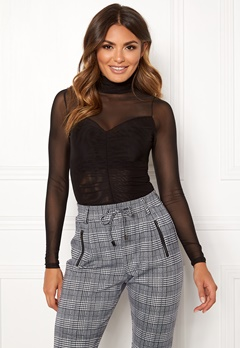 Happy Holly Megan mesh top Black Bubbleroom.no