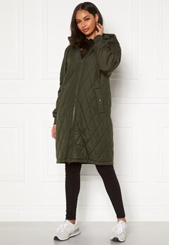 Happy Holly Melanie quilted hood jacket Khaki green Bubbleroom.no