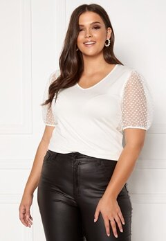 Happy Holly Melissa v-neck puff top Offwhite Bubbleroom.no