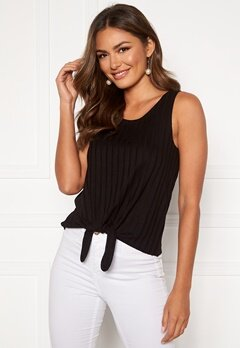 Happy Holly Mila knot rib top Black Bubbleroom.no