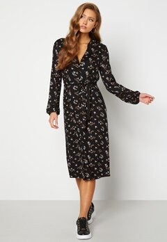 Happy Holly Milly midi dress Black / Floral Bubbleroom.no
