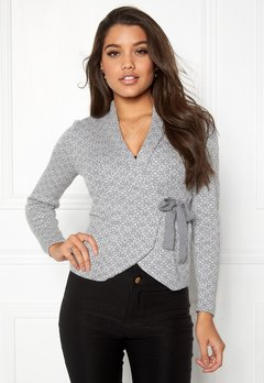 Happy Holly Mona cardigan Grey melange / Offwhite Bubbleroom.no