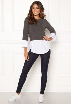 Happy Holly Nell 2in1 top Dark grey melange / White Bubbleroom.no