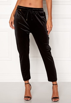 Happy Holly Pearl velour pants Black Bubbleroom.no