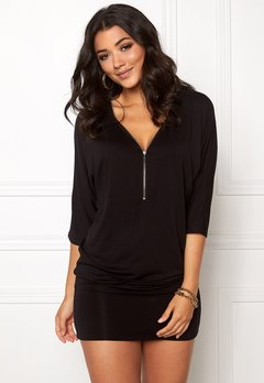 Happy Holly Perla cuff tunic Black Bubbleroom.no