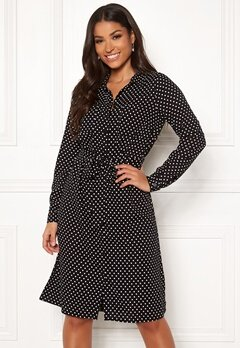 Happy Holly Ronja ls shirt dress Black / Dotted Bubbleroom.no